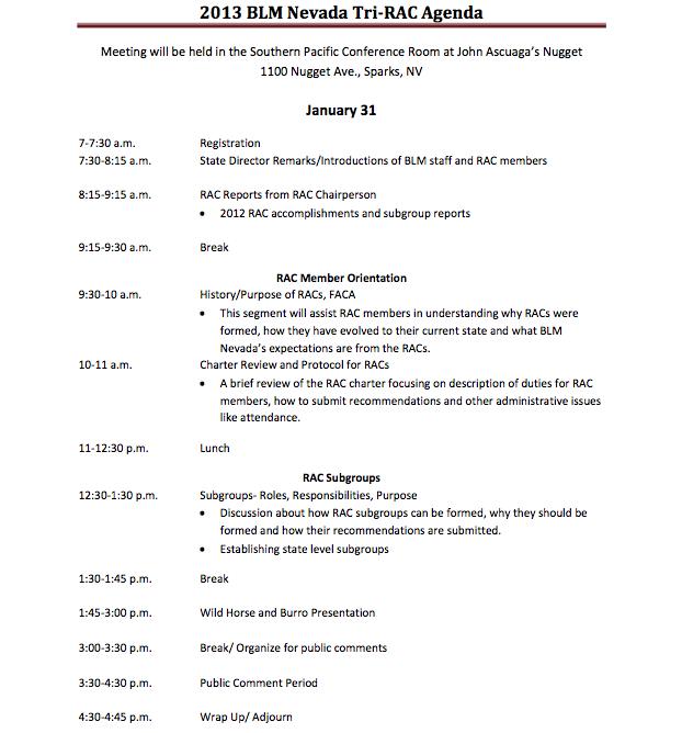 Agenda, day one