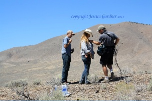 """Dave Philipps and Laura Leigh geting """"wired"""" at Blue Wing for the Travel Channel"""