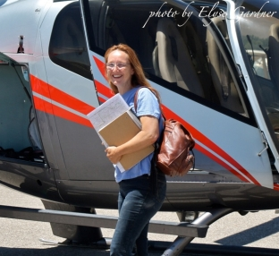 Laura Leigh, WHE founder, boarding a helicopter for a survey flight of Owyhee
