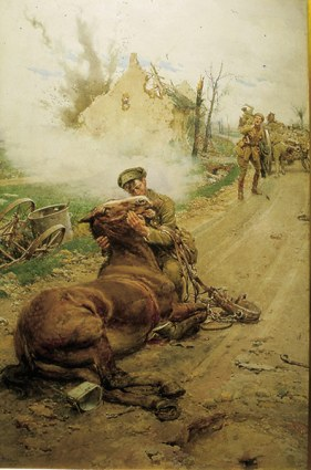 """Good-bye Old Man,"" a poster from World War I. Sheldon horses served in this war."
