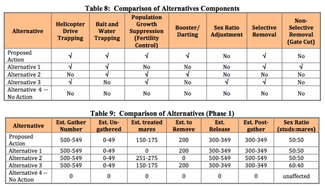 Chart contained in EA, Comparison of Alternatives