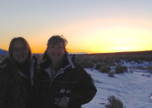 Leigh and BLM Wild Horse and Burro Specialist Richardson, working together to find solutions (Cathy Ceci)