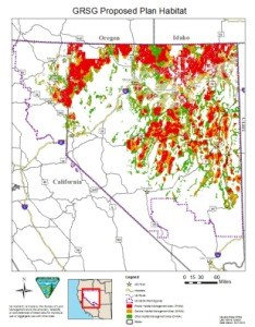 NV Map showing defined sage grouse habitat