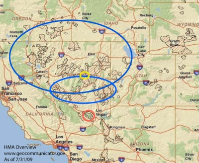 Blue is the approximate territory visited by WHE. The yellow is Fish Creek. The Red is Wheeler Pass (Cold Creek)
