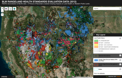 PEER map showing failures of the livestock industry to maintain rangeland health